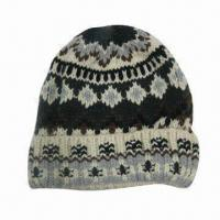 Quality Knitted witner hat, made of 100% acrylic for sale