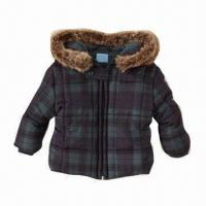 China Plaid Puffer Jacket for Rain, Sleet or Snow, 100% Polyester Taffeta, Removable Faux-fur Hood Trim on sale