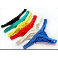 Quality OEM Custoom Blue Spandex / Cotton Knitted Sexy Mans Thong Underwear for sale