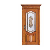Quality Industry Leading Mosaic Glass Insert Lacquer Interior China Wooden Door for sale