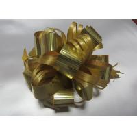 """Quality 4.5"""" Gift pull Pom Pom Bow with Crimped metallic ribbon and PP raffia for packing and decoration for sale"""
