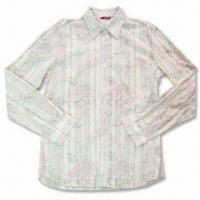 Quality Men's Printed Casual Shirt with Long Sleeves and Garments Wash, Made of 100% Cotton for sale