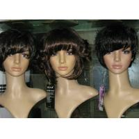 """China Brown Petite Curly Bang Synthetic Hair Wigs 10"""" - 30""""Length OEM ODM on sale"""