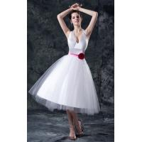 Quality Sexy V Neck A Line Short Brides Dresses White Tulle Gowns With Hot Pink Flower for sale