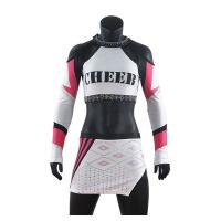 China Custom Rhinestone Cheer Uniforms / Lycra Fabric Cheerleading Practice Clothes on sale