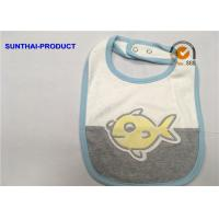 Quality Contrast Color Binding Applique Baby Bibs , Bubble Screen Print Baby Feeding Bibs for sale