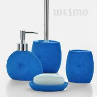 Quality Royal Blue Color Bath Accessories Set / 4 Piece Polyresin Bathroom Set (WBP0343A) for sale