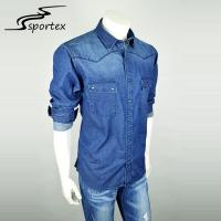 Quality Mens Outdoor Washed Denim Shirt Plain Dyed Technics Environmental Friendly for sale