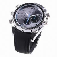 Quality 1,080P Water-resistant Metal Watch Camera with Silicone Belt and Night Vision Function for sale