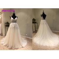 Quality Lace AppliquesWhite Ball Gown Wedding Dress / Long Beautiful Ball Gown Dresses for sale