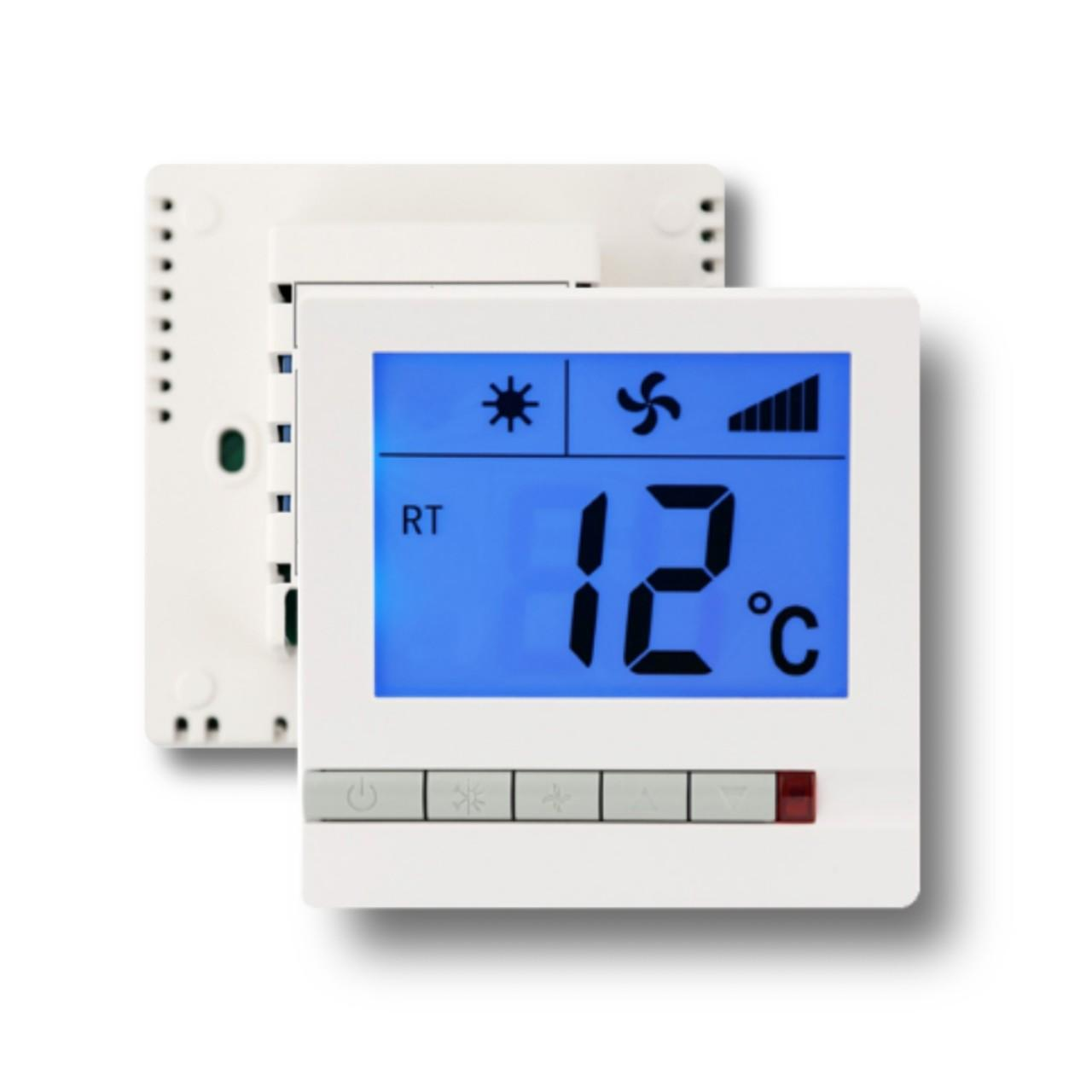 Quality 230V 3 Speed Digital Electric Room Thermostat For Fan Coil Units White Color for sale