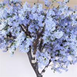 China Soft Artificial Flower Tree Jacaranda Wood Bule Color Sakura Tree Branch for sale