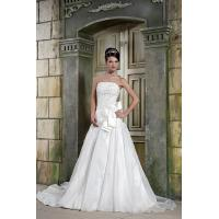Quality Modern Strapless A-line Long White Organza A Line Wedding Dress Bridal Gown With Bow for sale
