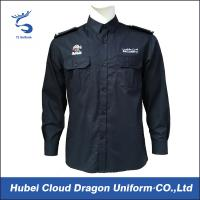 China Custom Embroidered Logo Security Guard Shirts Dark Blue Long Sleeves For Duty on sale
