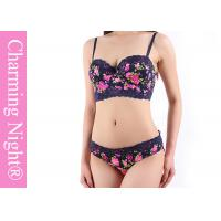 China Beautiful Printed Rose Sexy lingerie bras and panties set / women bra and underwear on sale