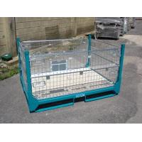 Quality Gold Zinc Plated IBC Metal Cage Box Foldable Pallet Container 1000 - 2000kgs Weight Capacity for sale