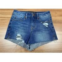 China Raw Hem Ladies Fashion Jeans High Waisted Denim Shorts Light Wash Cotton With Rips on sale