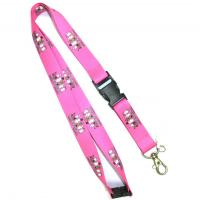 Quality Pink Heat Transfer Lanyard With Plastic Buckle ,Water Bottle Lanyards for sale