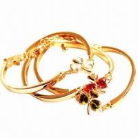 Quality Bangles, Made of Metal and Zircon for sale