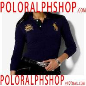 Quality Cheap RL Women Custom-Fit Long-sleeved Polo Shirt Navy Blue for sale