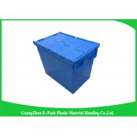 Quality Heavy Duty Moving Stackable Plastic Tote Boxes With Hinged Lids for sale