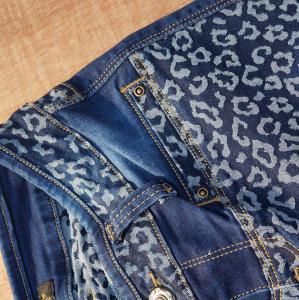 Quality womens jaquard denim long pants,combine fabric,jeans factory for sale