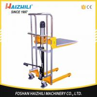 Quality Multi function light weight 400kg 800lb 1500mm hydraulic manual stacker with price for sale