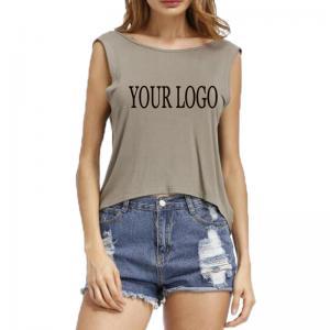 China 2019 High Quality Custom Printing sexy fashion blank sleeveless women t shirt with your logo on sale