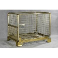 Quality Gold Zinc Plated Warehouse Metal Storage Bins Foldable Pallet Container Cage Box for sale