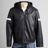 China 2012 men's new style hooded casual imitation leather jacket on sale