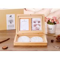 Quality Souvenir Gift Baby keepsake Box , Solid Wood Baby Hand And Footprints Photo Frame for sale
