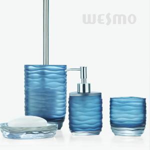 Quality Light Blue Semi - Transparent Polyresin Bathroom Set / Bathroom Accessories Set (WBP0342A) for sale