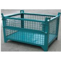 Quality Wheeled Lockable Pallet Cages Square Stack Legs Folds Flat For Space Saving for sale