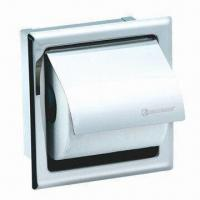 China Wall-mounted Single Square Paper Holder, Chrome Polished Finishing on sale