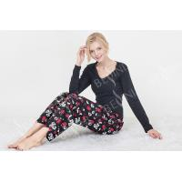 Buy Black Women'S Nightgown Sets , Women'S 2 Piece Pajamas Sets  Lace Trimed at wholesale prices