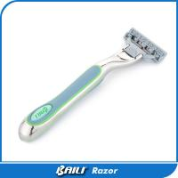 Quality Manual Blue rubber metal alloy handle triple blade razor , OEM design for sale