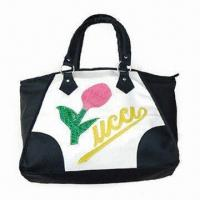 China Fashionable PU Tote Bag with Flower, Nylon Lining and Zipper, No Logo, OEM Orders are Welcome on sale