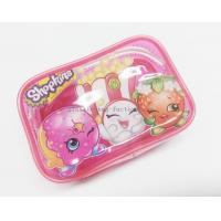 Quality Cute & Lovely Girl Pink Vinyl Zipper Pouches , Non-toxic Clear Plastic Makeup Bag for sale