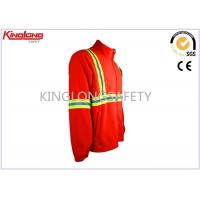 China Professional Orange Hi Vis Double Brushed Polar Fleece Coat With Two Elastic Cuffs on sale