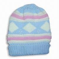 Quality Acrylic Knitted Jacquard Women's Hat without Lining for sale