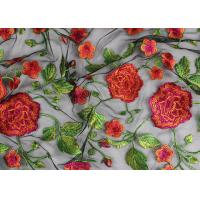 Quality Bridal 3D Floral Embroidered Mesh Fabric , Red Flower Bridal Embroidered Net Fabric for sale