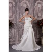 Quality Simple Strapless Sweetheart A Line Wedding Dress Bridal Gown With Beads for sale