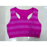 Quality Nylon / Cotton Purple Anti-Static  Breathable Wirelesss Stripes Front Closure Sports Bra for sale