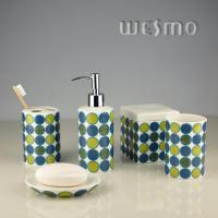 Buy Sweet Design Green Porcelain Bathroom Accessories With Big Dots Decal (WBC0626B) at wholesale prices