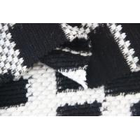 Quality Black And White Polyester Wool Fabric , Light Weight Faux Fur Upholstery Fabric for sale