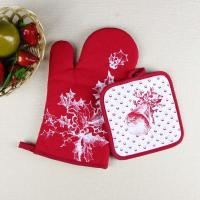 Quality Christmas Theme Highly Recommend Kitchen Cooking Pot Holder and Oven Mitten Glove for sale