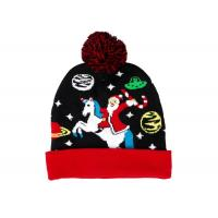Quality LED Jacquard Cable Knitted Warm Bobble Hat Soft Women Christmas Beanie With Pompom for sale