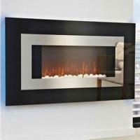 Quality Electric Fireplace Heaters with black curved glass panel and blue backlight, lightness adjustable for sale