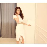 Buy Round Neck Womens Suit Dress Female Short Sleeved party dresses at wholesale prices