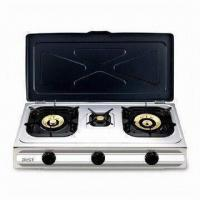 Quality Triple Burner Gas Stove with Adjustable Gas Control and Stainless Steel Saucer Tray for sale